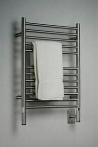 "Amba Jeeves ESB-20 Model E 20-1/2"" W x 31"" H  Straight Electric Heated Towel Warmer - Brushed Stainless"