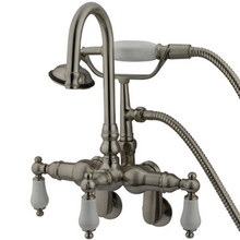 "Kingston Brass 3-3/8"" - 9"" Adjustable Center Wall Mount Clawfoot Tub Filler Faucet with Hand Shower - Satin Nickel CC305T8"