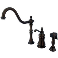 Kingston Brass Single Handle Widespread Kitchen Faucet & Brass Side Spray - Oil Rubbed Bronze KS7805TPLBS