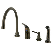 Kingston Brass Single Handle Kitchen Faucet with Soap Dispenser & Side Spray - Oil Rubbed Bronze