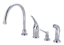 Kingston Brass Single Handle Kitchen Faucet with Side Spray & Soap Dispenser - Polished Chrome