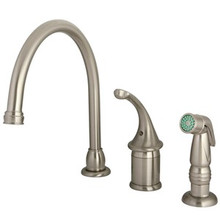 Kingston Brass Single Handle Kitchen Faucet & Non-Metallic Side Spray - Satin Nickel KB3818GLSP