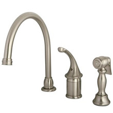 Kingston Brass Single Handle Kitchen Faucet & Brass Side Spray - Satin Nickel KB3818GLBS