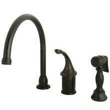 Kingston Brass Single Handle Kitchen Faucet & Brass Side Spray - Oil Rubbed Bronze KB3815GLBS