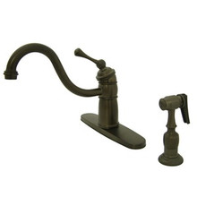 Kingston Brass Single Handle Kitchen Faucet & Brass Side Spray - Oil Rubbed Bronze