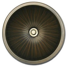 "Linkasink BR004 AB 17"" Bronze Large Fluted Undermount or Drop In Lav Sink - Antique Bronze"