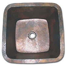 "LinkaSink C005 WC 1 1/2"" Drain Small 16"" Square Lav Copper Sink - Weathered"