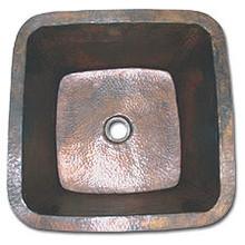 "LinkaSink C005 DB 1 1/2"" Drain Small 16"" Square Lav Copper Sink - Dark Bronze"