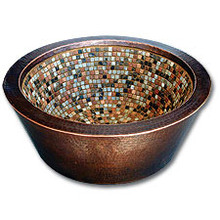 "Linkasink V006 WC 17"" Double Walled Copper Mosaic Lav  sink - Weathered Copper"