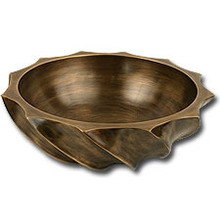 "Linkasink B007 WB 17"" Bronze Wave Bowl Vessel Sink - White Bronze"