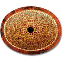 """Linkasink V004 WC Large 19"""" Oval Mosaic Lav Sink - Drain Included - Weathered Copper"""