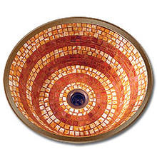 "Linkasink V002 WC Large 16"" Round Mosaic Lav Sink - Drain Included - Weathered Copper"