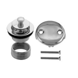 Westbrass D94K 07 2 Hole Twist & Close Bath Waste & Drain Trim Kit - Satin Nickel