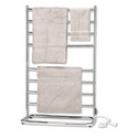 Warmrails Hyde Park WHS Portable Freestanding Towel Warmer & Drying Rack - Satin Nickel