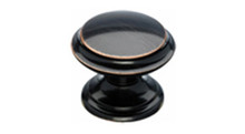 "Top Knobs  Bath Stratton M1591 1 3/8"" Flat Cabinet Door Knob - Tuscan Bronze Base"