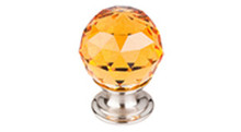 "Top Knobs Additions TK111BSN 1 1/8"" Amber Crystal Cabinet Door Knob - Brushed Satin Nickel Base"