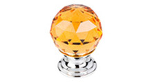 "Top Knobs Additions TK111PC 1 1/8"" Amber Crystal Cabinet Door Knob - Polished Chrome Base"