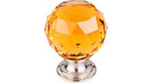 "Top Knobs Additions TK112BSN 1 1/8"" Amber Crystal Cabinet Door Knob - Brushed Satin Nickel Base"