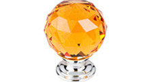 "Top Knobs Additions TK112PC 1 1/8"" Amber Crystal Cabinet Door Knob - Polished Chrome Base"