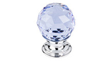 "Top Knobs Additions TK113BSN 1 1/8"" Light Blue Crystal Cabinet Door Knob - Brushed Satin Nickel Base"