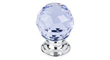 "Top Knobs Additions TK113BSN 1 1/8"" Light Blue Crystal Cabinet Door Knob - Brushed Satin Nickel Base"
