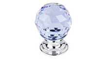 "Top Knobs Additions TK113PC 1 1/8"" Light Blue Crystal Cabinet Door Knob - Polished Chrome Base"
