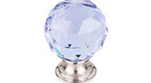 "Top Knobs Additions TK114BSN 1 1/8"" Light Blue Crystal Cabinet Door Knob - Brushed Satin Nickel Base"