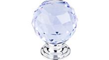 "Top Knobs Additions TK114PC 1 1/8"" Light Blue Crystal Cabinet Door Knob - Polished Chrome Base"