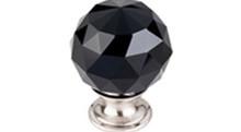 "Top Knobs Additions TK116BSN 1 3/8"" Black Crystal Cabinet Door Knob - Brushed Satin Nickel Base"