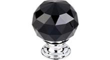 "Top Knobs Additions TK116PC 1 3/8"" Black Crystal Cabinet Door Knob - Polished Chrome Base"