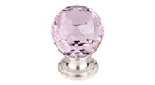 "Top Knobs Additions TK117BSN 1 1/8"" Pink Crystal Cabinet Door Knob - Brushed Satin Nickel Base"