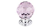 "Top Knobs Additions TK117PC 1 1/8"" Pink Crystal Cabinet Door Knob - Polished Chrome Base"