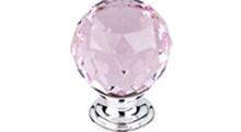 "Top Knobs Additions TK118PC 1 3/8"" Pink Crystal Cabinet Door Knob - Polished Chrome Base"