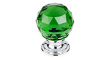 """Top Knobs Additions TK119PC 1 1/8"""" Green Crystal Cabinet Door Knob - Polished Chrome Base"""