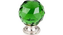 "Top Knobs Additions TK120BSN 1 3/8"" Green Crystal Cabinet Door Knob - Brushed Satin Nickel Base"