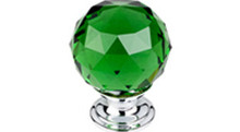 """Top Knobs Additions TK120PC 1 3/8"""" Green Crystal Cabinet Door Knob - Polished Chrome Base"""