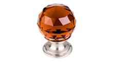 "Top Knobs Additions TK121BSN 1 1/8"" Wine Crystal Cabinet Door Knob - Brushed Satin Nickel Base"
