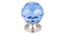 "Top Knobs Additions TK123BSN 1 1/8"" Blue Crystal Cabinet Door Knob - Brushed Satin Nickel Base"