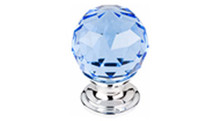 "Top Knobs Additions TK123PC 1 1/8"" Blue Crystal Cabinet Door Knob - Polished Chrome Base"