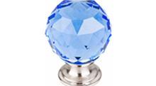 "Top Knobs Additions TK124BSN 1 3/8"" Blue Crystal Cabinet Door Knob - Brushed Satin Nickel Base"