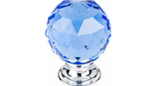 "Top Knobs Additions TK124PC 1 3/8"" Blue Crystal Cabinet Door Knob - Polished Chrome Base"