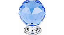 "Top Knobs Additions TK124PC 1 3/8"" Blue Crystal Cabinet Door Knob - Polished Chrome Base"