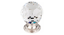 "Top Knobs Additions TK125BSN 1 1/8"" Clear Crystal Cabinet Door Knob - Brushed Satin Nickel Base"