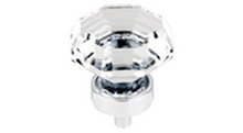 "Top Knobs Additions TK128PC 1 1/8"" Clear Octogan Crystal Cabinet Door Knob - Polished Chrome Base"
