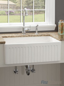 "Fine Fixtures FC3018LI Lichfield French Fluted Fireclay Apron Kitchen Sink - White - 28 3/4"" x 19 1/2"""