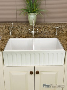 "Fine Fixtures FC3318SN Snowdon Double Bowl French Fluted Apron Fireclay Kitchen Sink - White - 32 3/4"" x 20"""