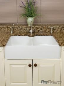 "Fine Fixtures FC3120BE Berrington Double Bowl Butler Fireclay Kitchen Sink with Taphole - White - 31 1/4"" x 19 1/4"""
