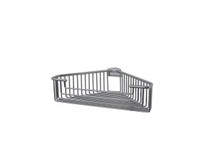"Valsan 53445CR Essentials Large Deep Detachable Corner Basket 12"" x 9 3/4"" x 3 1/4"" - Chrome"