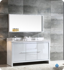 "Fresca FVN8119WH Allier Double Sink Bathroom Vanity with Sink & Faucet & Mirror 60"" W - White"
