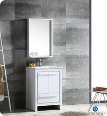 """Fresca FVN8125WH Allier Bathroom Vanity with Sink & Faucet & Mirror 23.5"""" W - White"""
